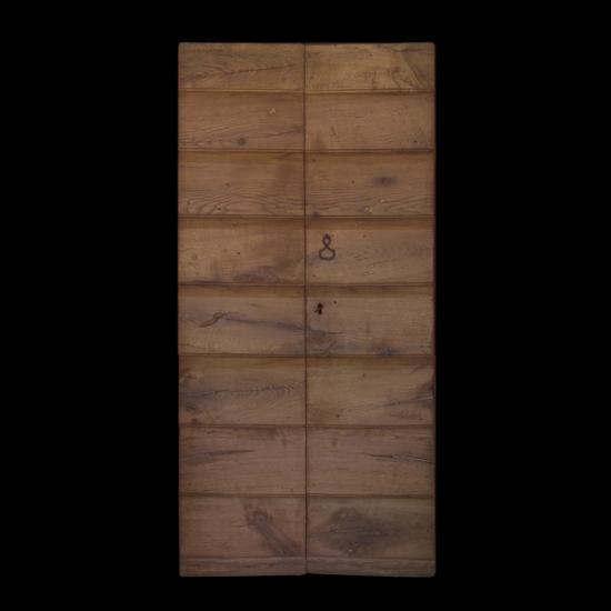 Porta da Esterno a due Ante senza Telaio realizzata con due essenze in Legno