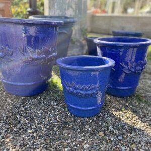 Set 3 vasi in cotto smaltato