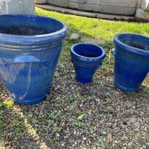Set 3 vasi in cotto smaltato Blu Notte